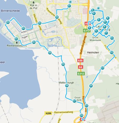 Route zaterdag