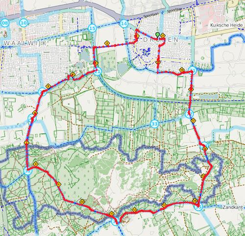 parkoers halve marathon van Drunense Duinenloop